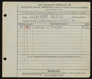 Entry card for Blazys, Alexander for the 1934 May Show.