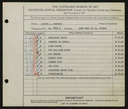 Entry card for Boersig, Joseph A. for the 1934 May Show.