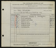 Entry card for Bolasni, Saul for the 1934 May Show.