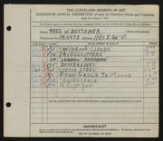 Entry card for Bottomer, Fred W. for the 1934 May Show.