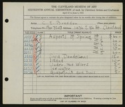 Entry card for Braddon, Charles Edwin for the 1934 May Show.