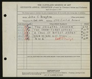 Entry card for Brayton, John C. for the 1934 May Show.
