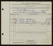 Entry card for Broemel, Carl William for the 1934 May Show.