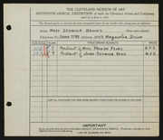 Entry card for Brooks, Mary Semour for the 1934 May Show.