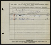Entry card for Bucholz, Robert John for the 1934 May Show.