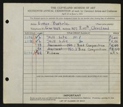 Entry card for Buehrle, Esther for the 1934 May Show.