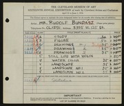 Entry card for Bundasz, Rudolph for the 1934 May Show.