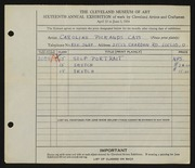 Entry card for Cass, Caroline Pickands for the 1934 May Show.