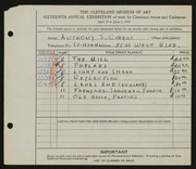 Entry card for Ciresi, Anthony S. for the 1934 May Show.