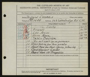 Entry card for Combes, Willard Wetmore for the 1934 May Show.