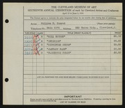Entry card for Conrad, William H. for the 1934 May Show.