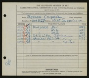 Entry card for Cooper, Dr. Bernard Henry for the 1934 May Show.