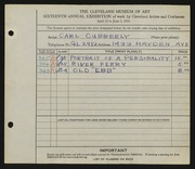 Entry card for Cubberly, Carl for the 1934 May Show.