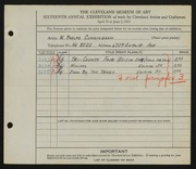 Entry card for Cunningham, William Phelps for the 1934 May Show.