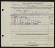 Entry card for Deike, Clara L. for the 1934 May Show.