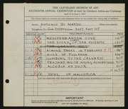 Entry card for Di Nardo, Antonio for the 1934 May Show.