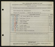 Entry card for Dittenhaver, Eleanor Senior for the 1934 May Show.
