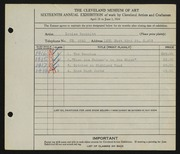 Entry card for Douthitt, Louise for the 1934 May Show.