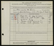 Entry card for Dunn, Louise Morrison for the 1934 May Show.