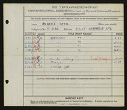 Entry card for Duval, Albert D. for the 1934 May Show.