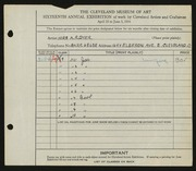 Entry card for Dyer, Nora E. for the 1934 May Show.