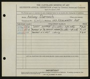 Entry card for Eterovich, Anthony William for the 1934 May Show.
