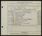 Entry card for Gaertner, Carl Frederick for the 1934 May Show.