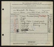 Entry card for Gates, Wendall N. for the 1934 May Show.