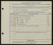 Entry card for Goodman, A. H. for the 1934 May Show.