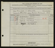 Entry card for Grauer, William C. for the 1934 May Show.