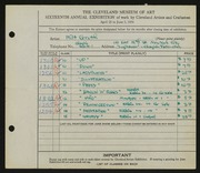 Entry card for Groth, Milt for the 1934 May Show.