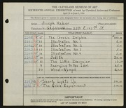 Entry card for Haber, Joseph for the 1934 May Show.