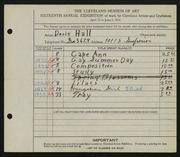 Entry card for Hall, Doris Elizabeth for the 1934 May Show.