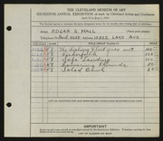 Entry card for Hall, Edgar S. for the 1934 May Show.