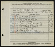 Entry card for Hewes, A. B. for the 1934 May Show.