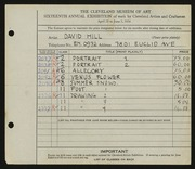 Entry card for Hill, David Wyers for the 1934 May Show.