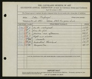 Entry card for Hufnagel, John for the 1934 May Show.