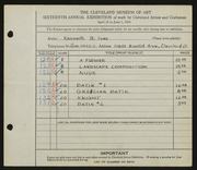 Entry card for Ives, Kenneth B. for the 1934 May Show.