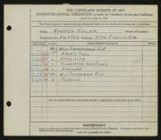 Entry card for Keller, Henry L. for the 1934 May Show.