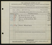 Entry card for Kemeny, John for the 1934 May Show.