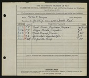 Entry card for Kenyon, Martha E. for the 1934 May Show.