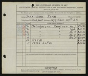 Entry card for Kern, Sara Jane for the 1934 May Show.