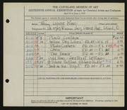 Entry card for King, Mary Louise for the 1934 May Show.