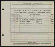 Entry card for Knapp, Walter H. for the 1934 May Show.