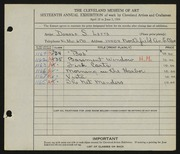 Entry card for Letts, Donald Sherwood for the 1934 May Show.