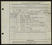 Entry card for Leva, Mana for the 1934 May Show.