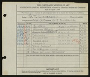 Entry card for Limbach, Russell T. for the 1934 May Show.