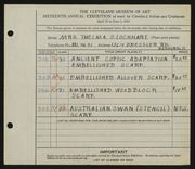 Entry card for Lockhart, Thelma S.  for the 1934 May Show.