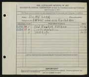 Entry card for Long, Elizabeth French for the 1934 May Show.