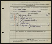 Entry card for Lueke, Matha for the 1934 May Show.